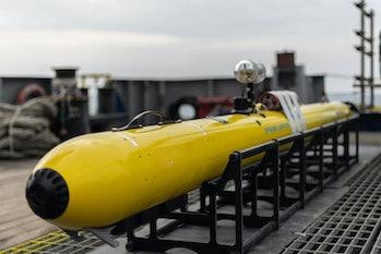 autonomous underwater vehicle on deck of ship