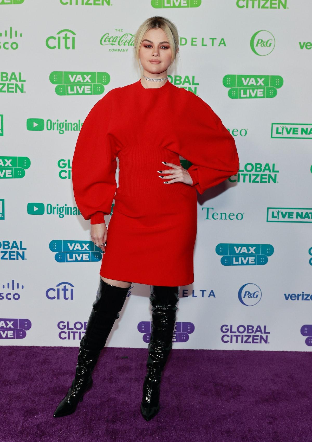 Selena Gomez wearing red