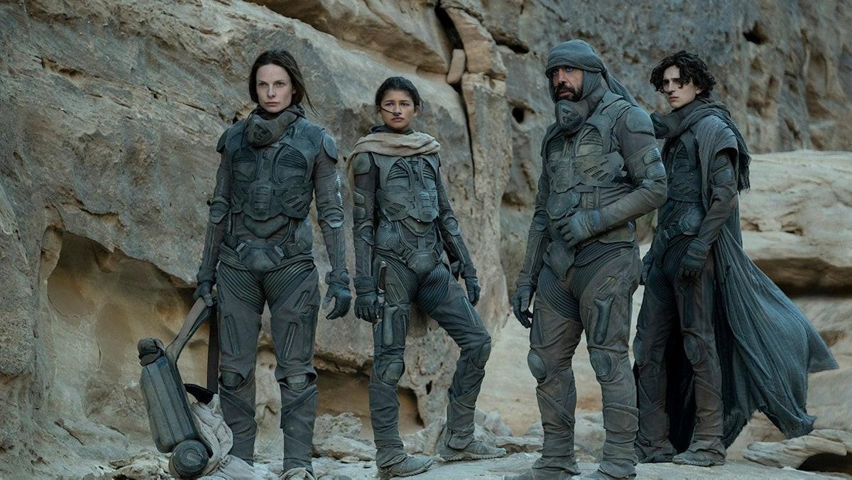 Zendaya, Timothee-Chalamet, Oscar Issac, and Rebecca Ferguson in 'Dune'