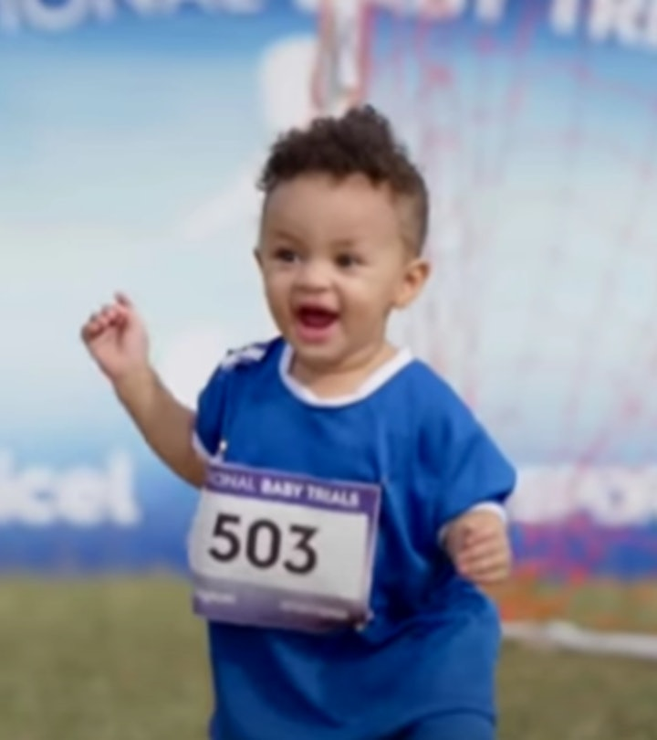 Usain Bolt offered helpful commentary to babies in Olympic-like trials.