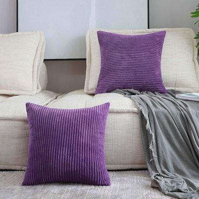 Home Brilliant Striped Velvet Corduroy Throw Pillow Covers (Set of 2)