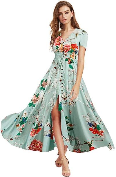 Milumia Button Up Floral Print Maxi Dress