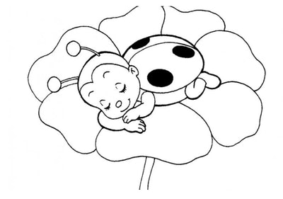 sleeping ladybug coloring page