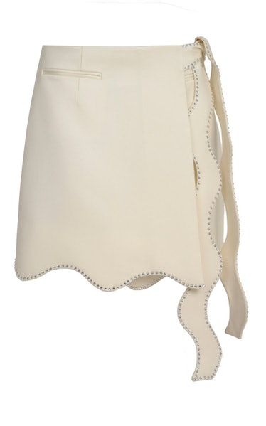 Wavy crystal-trimmed wool miniskirt from Mach & Mach, available to shop on Moda Operandi.