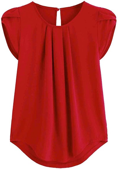Milumia Casual Round Neck Basic Pleated Top