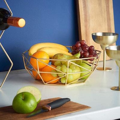 VonShef Gold Geo Fruit Bowl