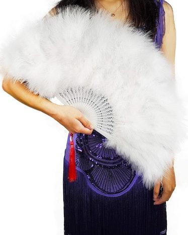 Handheld Marabou Feather Fan