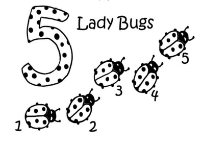 coloring page with five ladybugs