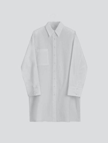 Lattelier long white button-down shirt.