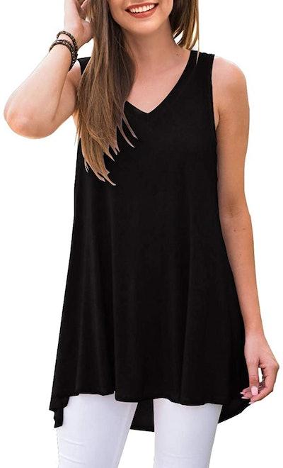 AWULIFFAN Sleeveless V-Neck T-Shirt