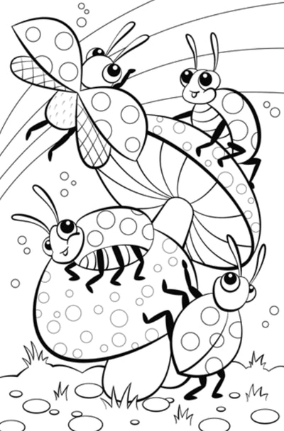 ladybug and mushrooms coloring page