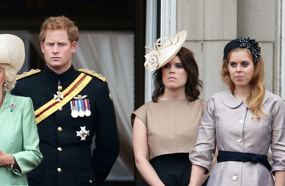 LONDON, ENGLAND - JUNE 13:  (L-R) Prince Andrew, Duke of York, Catherine, Duchess of Cambridge, Camilla, Duchess of Cornwall, Prince Harry, Princess Eugenie and Princess Beatrice stand on the balcony of Buckingham Palace following the Trooping The Colour ceremony on June 13, 2015 in London, England. The ceremony is Queen Elizabeth II's annual birthday parade and dates back to the time of Charles II in the 17th Century, when the Colours of a regiment were used as a rallying point in battle.  (Photo by Chris Jackson/Getty Images)