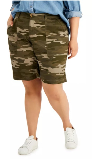Macy's plus size relaxed-fit bermuda shorts.