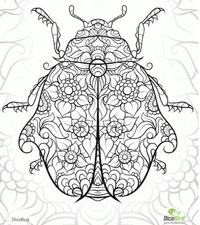intricate ladybug coloring page