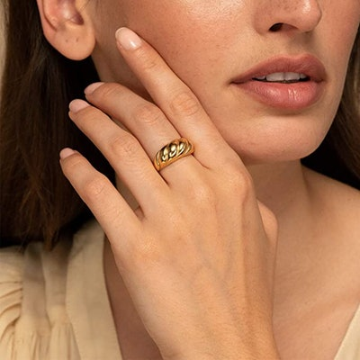 JINEAR Croissant Dome Ring