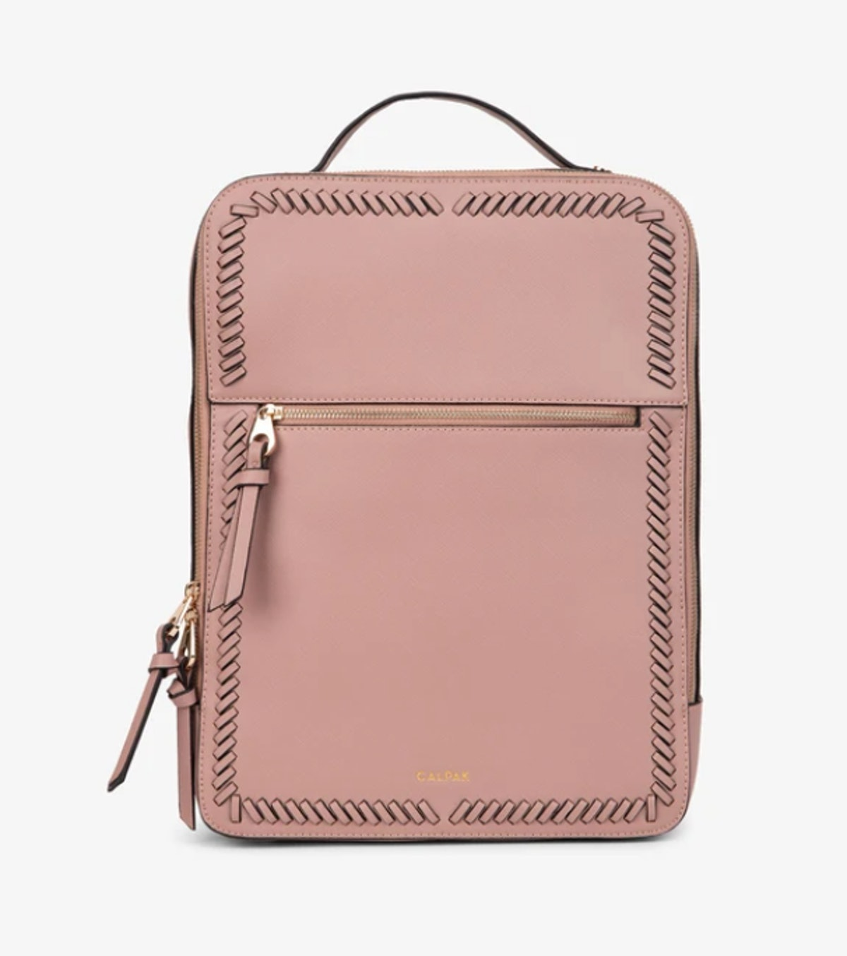 Calpak laptop bag in mauve with detailed trims.
