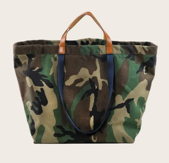 Veronica Beard's oversized camo bag.