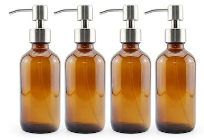 Cornucopia Amber Glass Pump Bottles (4-Pack)