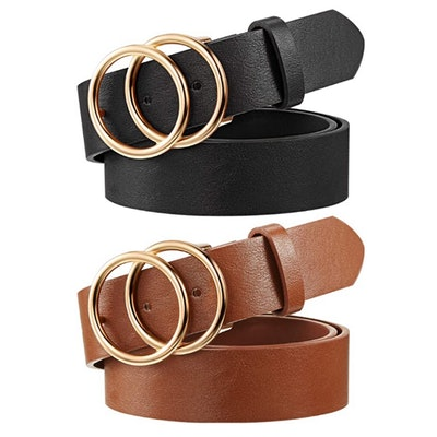 Syhood Faux Leather Waist Belts with Double O-Ring Buckle (2-Pack))