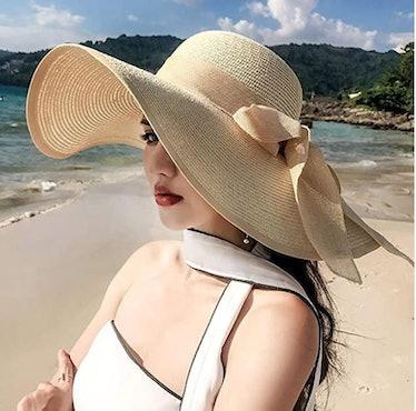 FSIGOM Wide Brim Sun Protection Straw Hat
