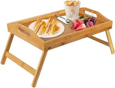 Pipishell Bamboo Bed Tray Table