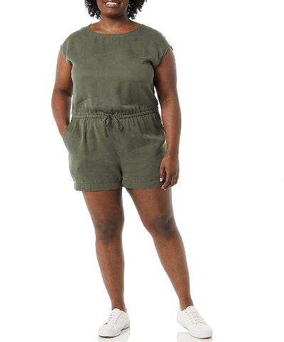 Daily Ritual Women's Tencel Short-Sleeve Romper