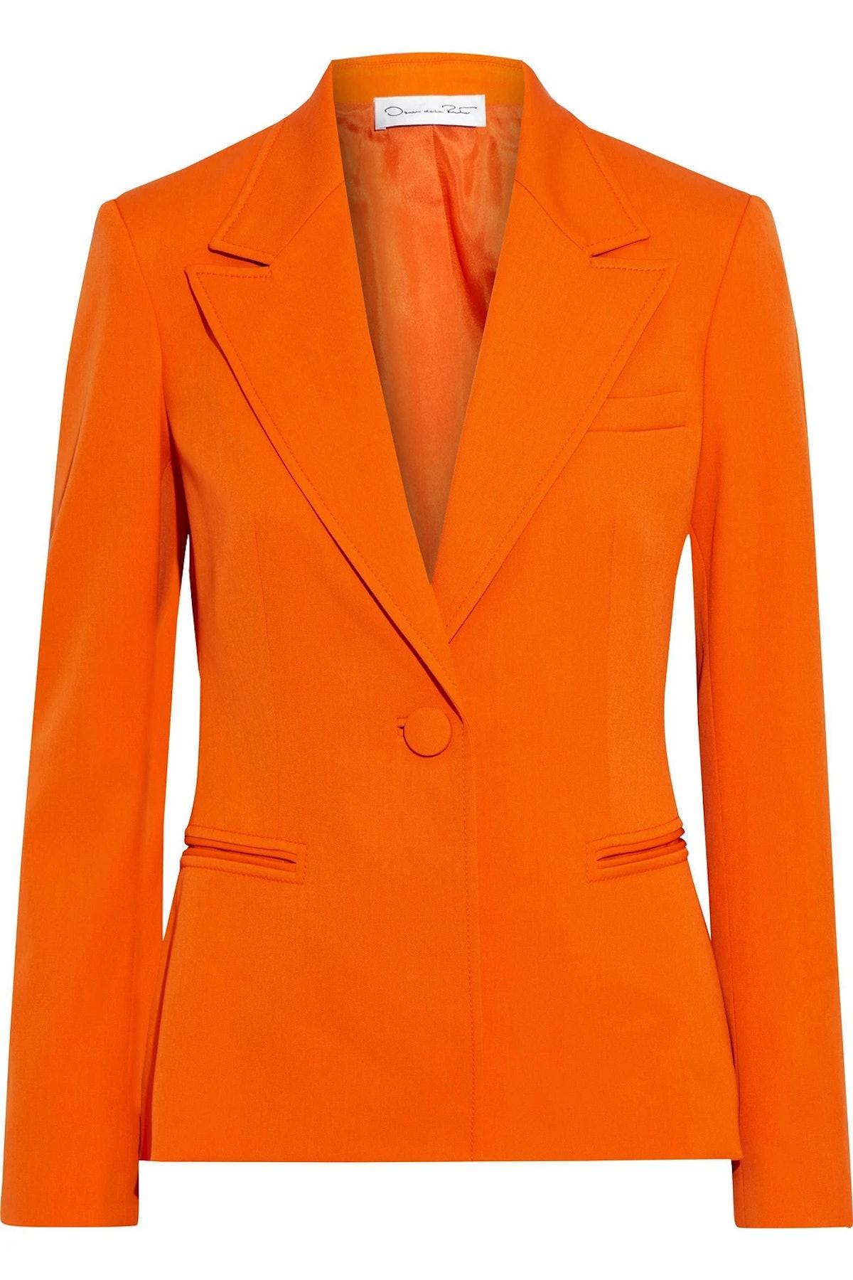 Bright orange wool-blend twill blazer from Oscar de la Renta, available to shop on The Outnet.