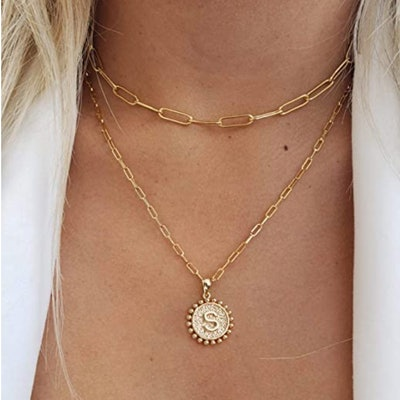 Yoosteel Gold Coin Initial Necklace