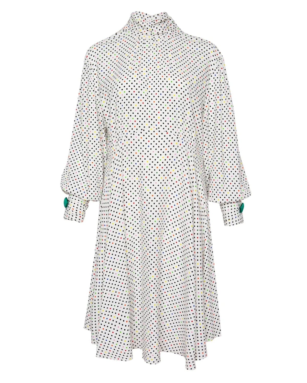 Polka Dot High-Neck Dress