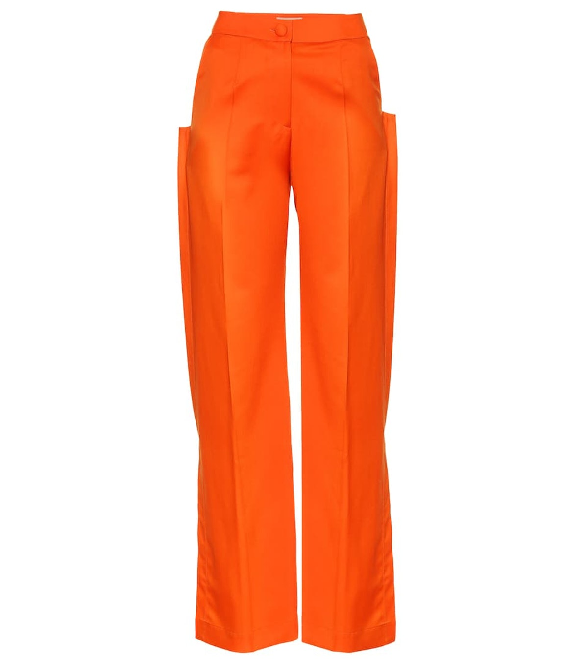 Orange high-rise flared wool pants from MATERIEL Tbilisi, available to shop on Mytheresa.