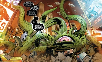 Shuma-Gorath monologuing in Mighty Avengers Vol. 2 #2