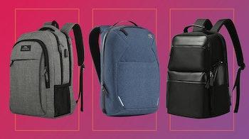 3 smart backpacks against a magenta background