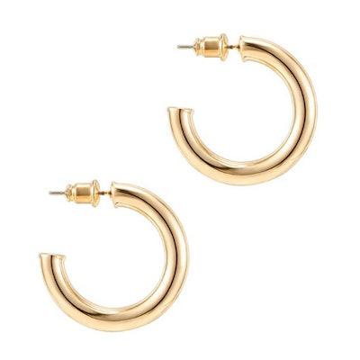 PAVOI Chunky Gold Open Hoop Earrings