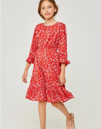 Floral Ruffle Fit Flare Dress