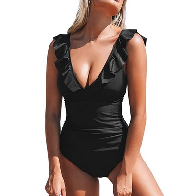 CUPSHE Ruffled V Neck One Piece Swimsuit
