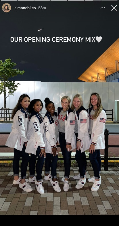 Simone Biles and her Team USA gymnastics teammates celebrated the 2021 Olympic opening ceremony in t...