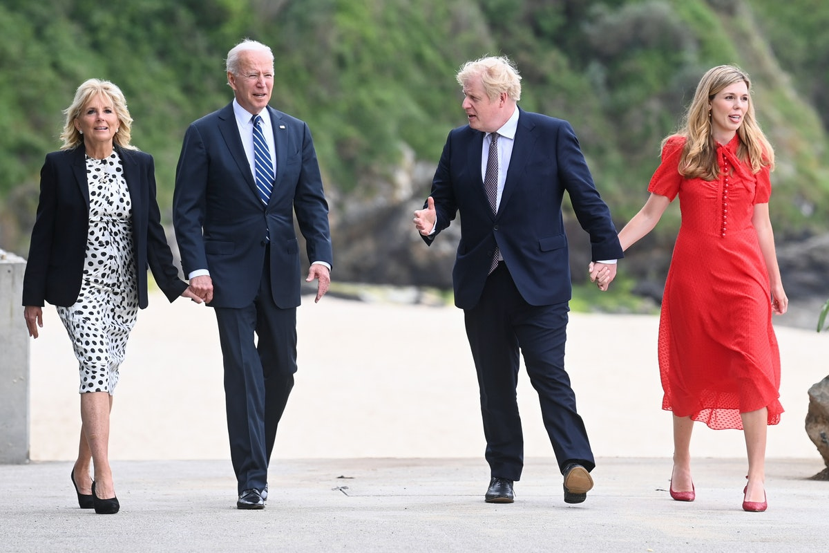 Britain's Prime Minister Boris Johnson, his wife Carrie Johnson and U.S. President Joe Biden with Fi...