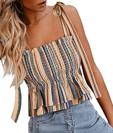 CILKOO Frill Smocked Crop Tank