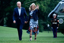 The Bidens returning to the White House from a weekend at Camp David.