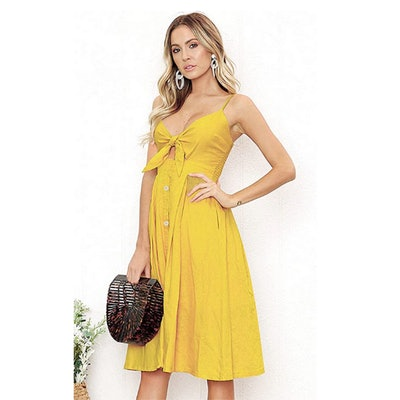 ECOWISH Tie Front Backless Midi Dress