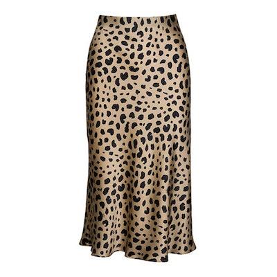 Soowalaoo High Waist Satin Leopard Midi Skirt