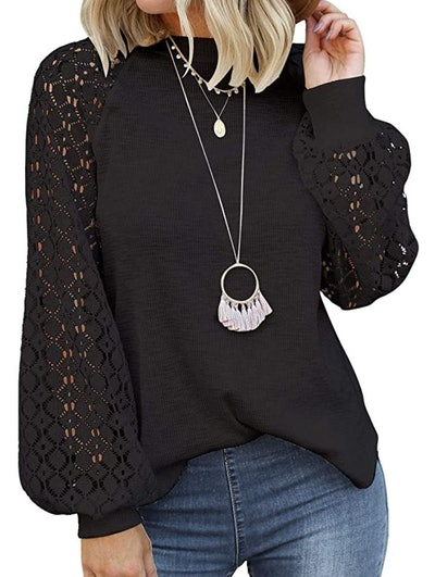 MIHOLL Long Sleeve Lace Blouse