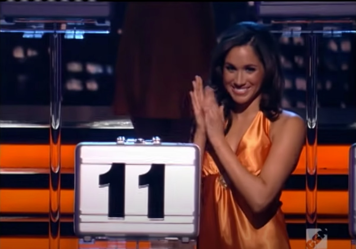 Meghan Markle, shown here wearing an orange dress and holding a briefcase on 'Deal or no Deal,' was ...