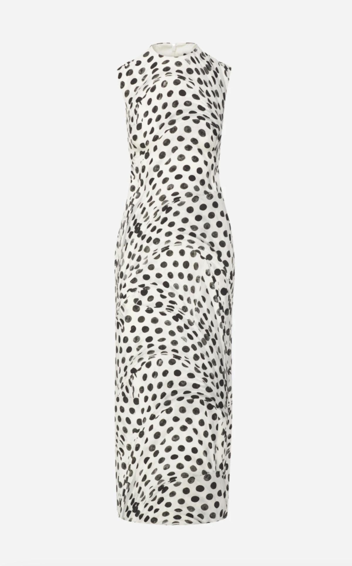 Brandon Maxwell's sleeveless polka dot Audrey Sheath dress.