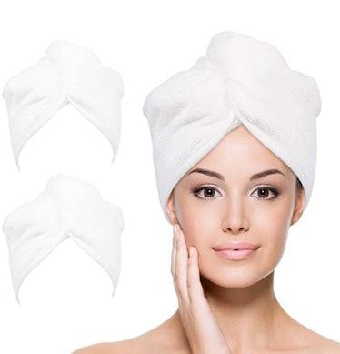 YoulerTex Microfiber Hair Towel Wrap (2-Pack)