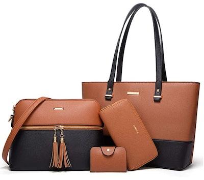 Lovematch Synthetic Leather Handbags Set (4-Piece Set)