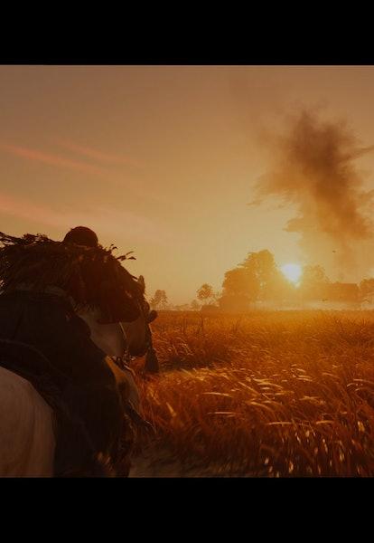 jin riding a horse toward sunset in screenshot from ghost of tsushima director's cut