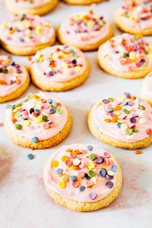 Raspberry Lemon Lofthouse Cookies with pink frosting and colorful confetti sprinkles