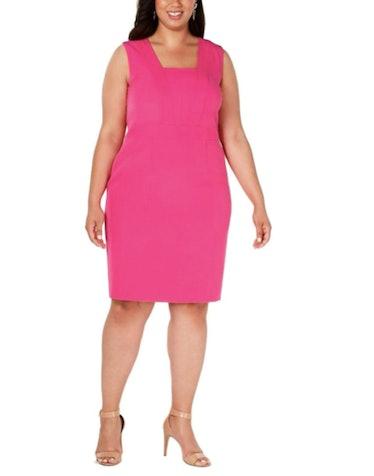 Kasper Square Collar Stretch Crepe Dress