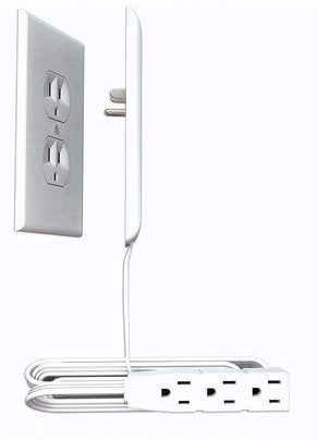 Sleek Socket Ultra-Thin Electrical Outlet Cover with 3 Outlet Power Strip